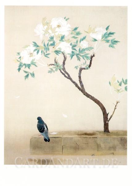 Tokuoka Shinsen: Pfingstrosen nach dem Regen - Postkarte