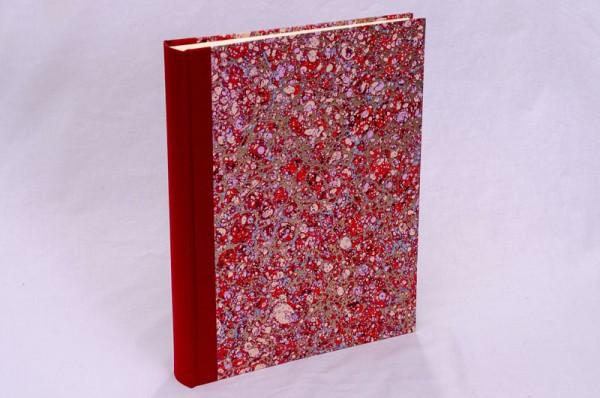 """Fotoalbum gebunden mit Florentiner Papier """" Lapis Rosso """" 31 x 24,5 cm"""