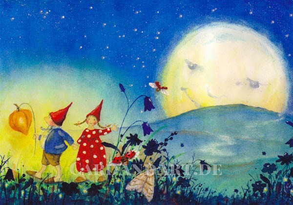 Pippa und Pelle mit Laterne - Postkarte