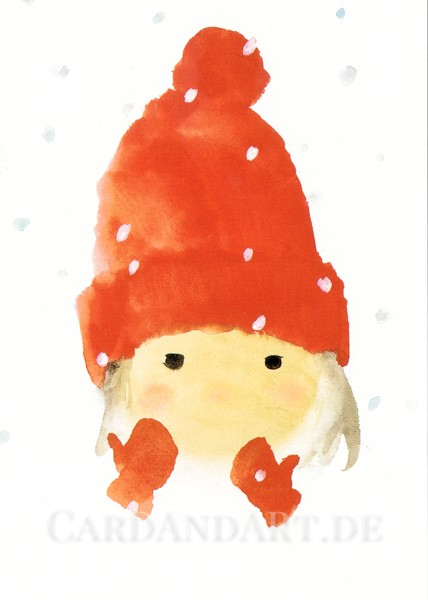 Chihiro Iwasaki - Mit roter Wollmütze - Postkarte