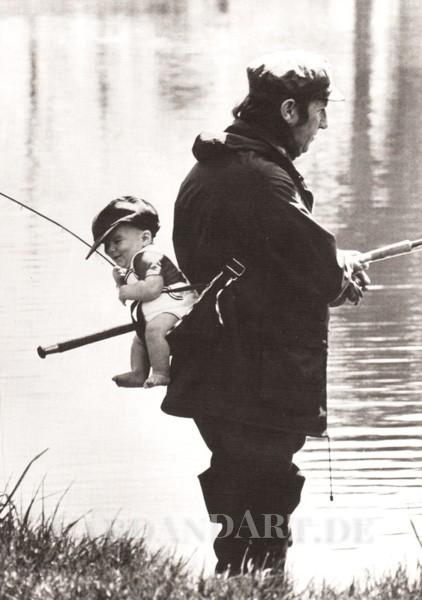 Angler und Sohn - Postkarte