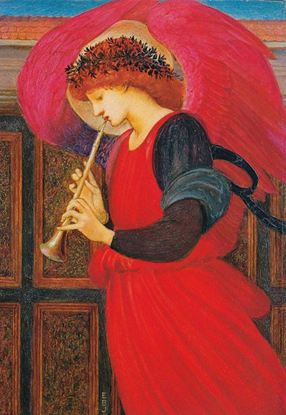 Burne-Jones, Flagolett spielender Engel - Klappkarte