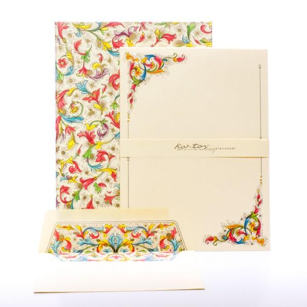 """Italienisches Briefpapier """" Florentia """" mit goldfarbenem Druck"""
