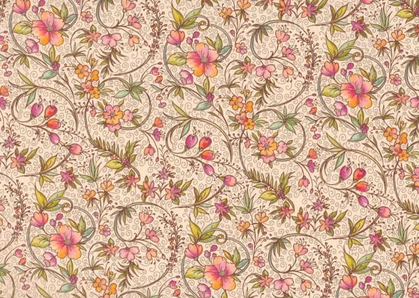 Zartrosa Blütenranken - Geschenkpapier mit goldfarbenem Druck