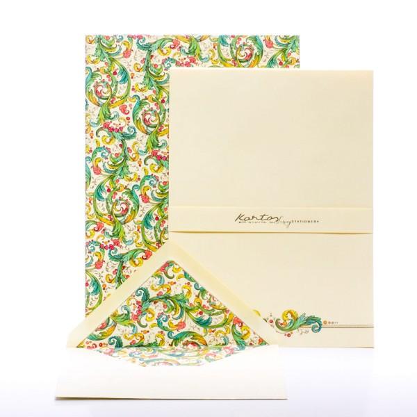 """Italienisches Briefpapier """" Signoria """" mit goldfarbenem Druck"""