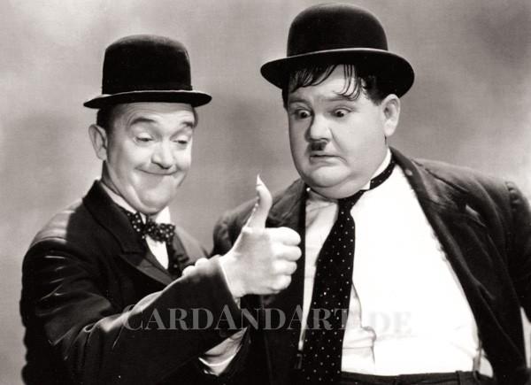 Stan Laurel und Oliver Hardy - Postkarte