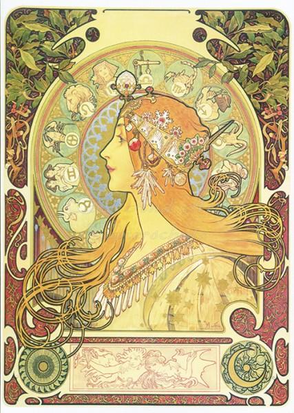 Mucha Alfons: Zodiak - Postkarte