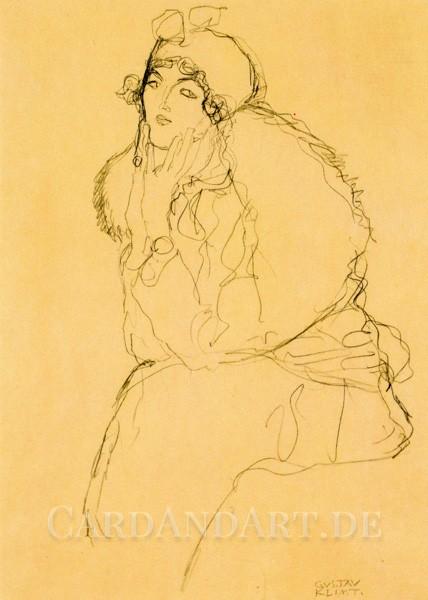 Klimt - Studie zu einem Damenbildnis - Postkarte