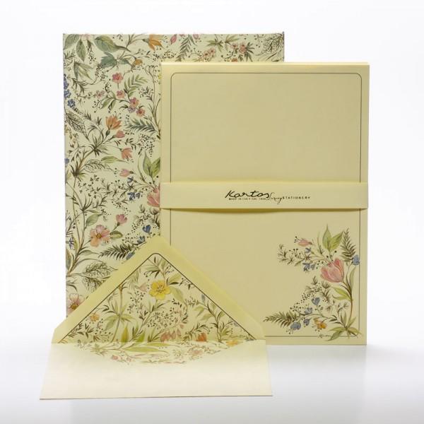 """Italienisches Briefpapier """" Primavera """" mit goldfarbenem Druck"""