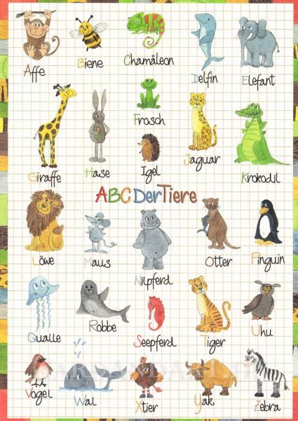 ABC der Tiere - Postkarte mit Effektlack