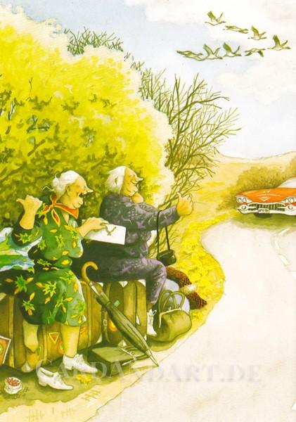 Inge Löök: Per Anhalter Richtung Süden - Postkarte Nr. 15