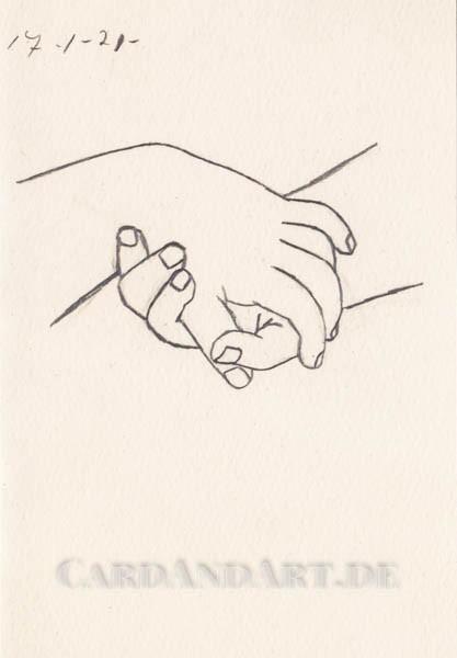 Pablo Picasso: Verschränkte Hände - Doppelkarte