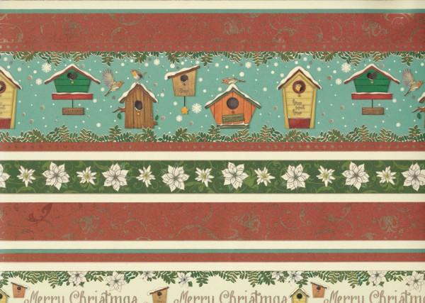 Bird Cottage - Geschenkpapier Weihnachten mit goldfarbenen Akzenten