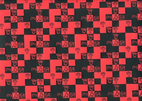 Memory rot - schwarz Geschenkpapier