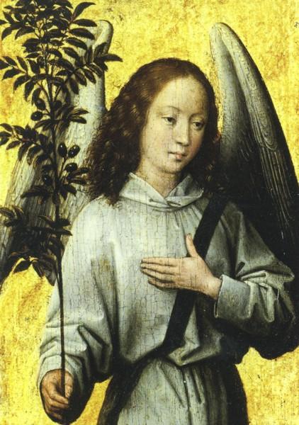Memling Hans: Engel mit Olivenbaumzweig - Doppelkarte