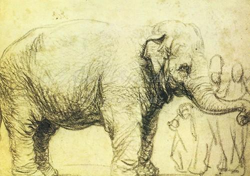 Rembrandt van Rijn: Elefant - Postkarte