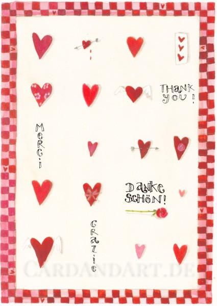 Herzlichen Dank - Postkarte Silke Leffler