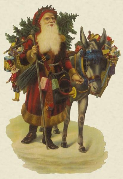 Weihnachtsmann mit Esel - Pop-up Karte zum Aufstellen