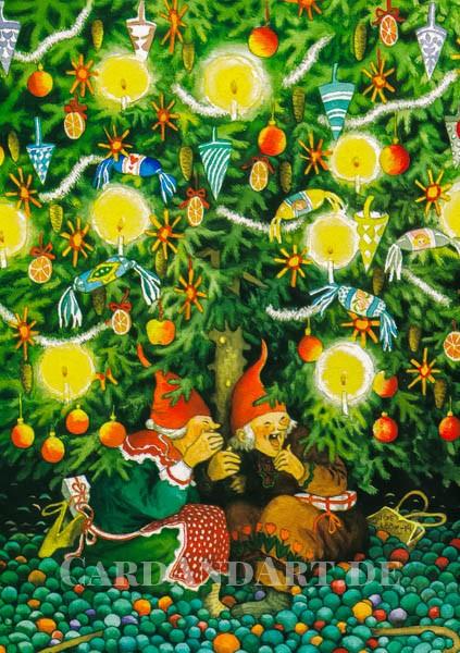 Inge Löök: Wichtelfrauen unterm Tannenbaum - Postkarte Nr. 45