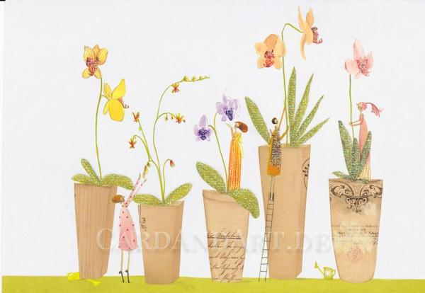 Blütenpflege - Postkarte Silke Leffler