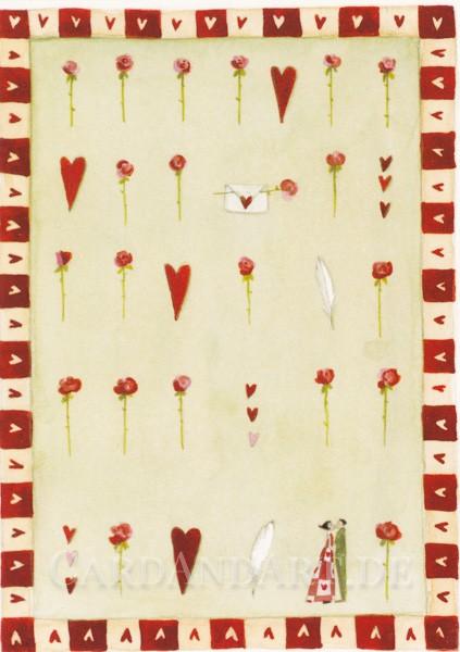 Rosen und Herzen - Postkarte Silke Leffler