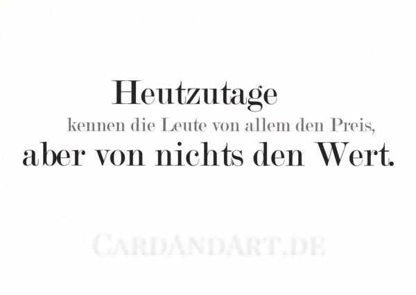 Oskar Wilde: Heutzutage kennen die Leute von allem... - Postkarte