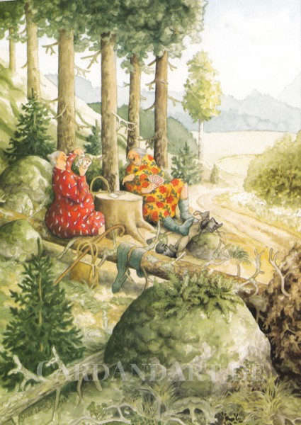 Inge Löök: Kartenspielen im Wald - Postkarte Nr. 60