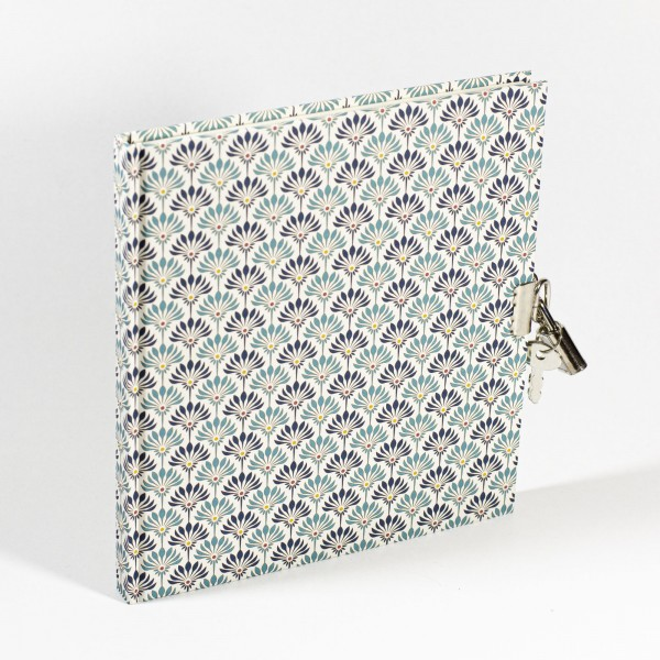 Tagebuch mit Schloss - Fleurs - 148x165mm, 100 Seiten