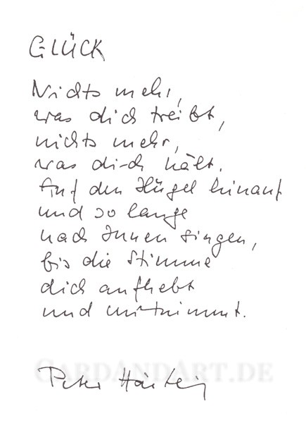 Peter Härtling: Glück - Postkarte