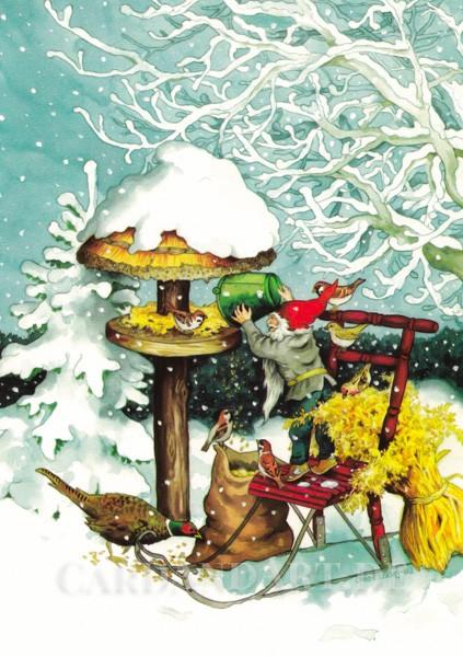 Inge Löök: Wichtel bringt den Vögeln Futter - Postkarte Nr. 222