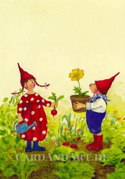 Pippa und Pelle im Garten - Postkarte
