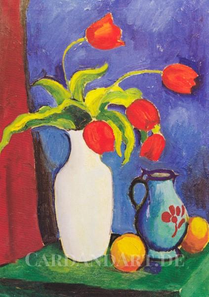 Macke August: Rote Tulpen in weißer Vase - Postkarte