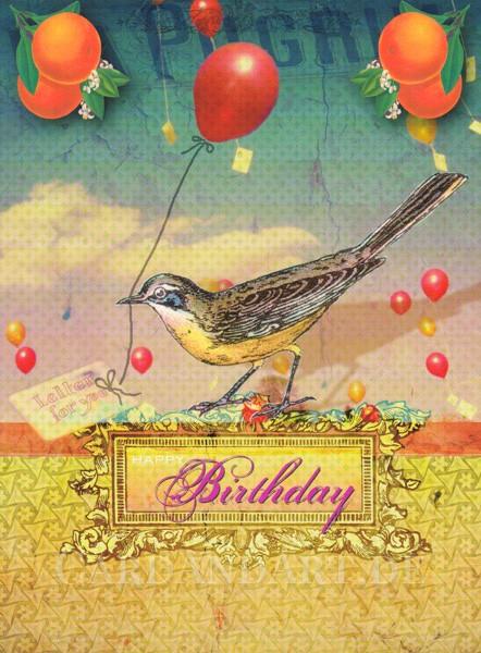 Vogel Birthday - Postkarte