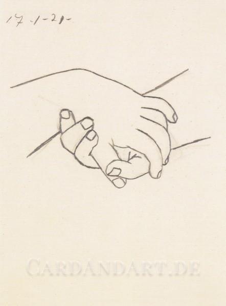 Pablo Picasso: Verschränkte Hände - Postkarte