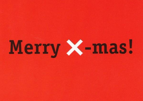 Merry X-mas - Weihnachtskarte mit ausgestanztem X - Postkarte