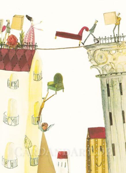 Umzug - Postkarte Silke Leffler