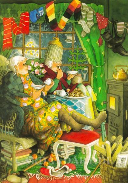Inge Löök: Am Kamin - Postkarte Nr. 40