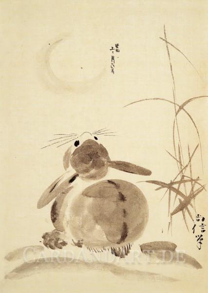 Shoshin Hitsu - Hase betrachtet den Vollmond - Postkarte