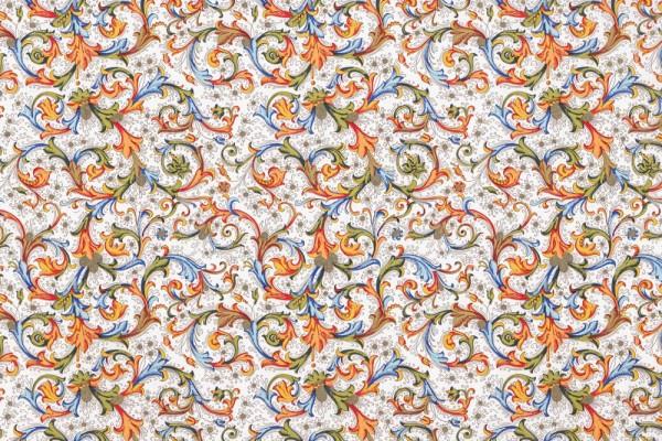 Florentiner antik orange - Geschenkpapier mit goldfarbenem Druck