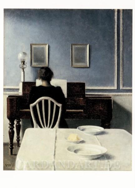 Hammershoi: Interieur mit junger Frau am Klavier - Postkarte