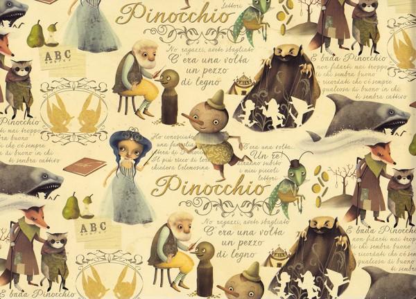 Pinocchio - Geschenkpapier mit Goldfarbendruck
