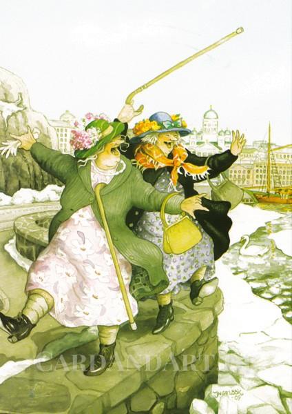 Inge Löök: Auf der Hafenmauer - Postkarte Nr. 22