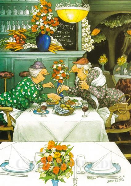 Inge Löök: Plauderei beim Essen - Postkarte Nr. 32