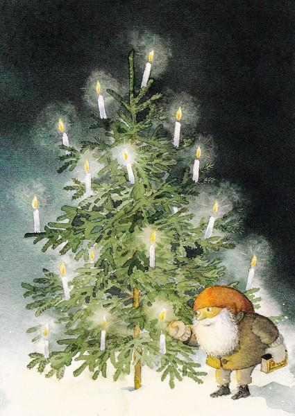 Tomtes Weihnachtsbaum - Catarina Kruusval - Postkarte