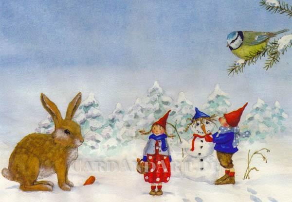 Pippa und Pelle im Schnee - Postkarte