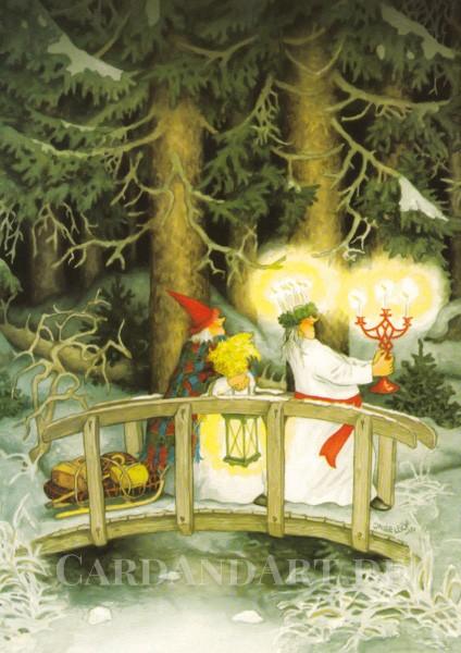 Inge Löök: Julfest - Santa Lucia - Postkarte Nr. 51