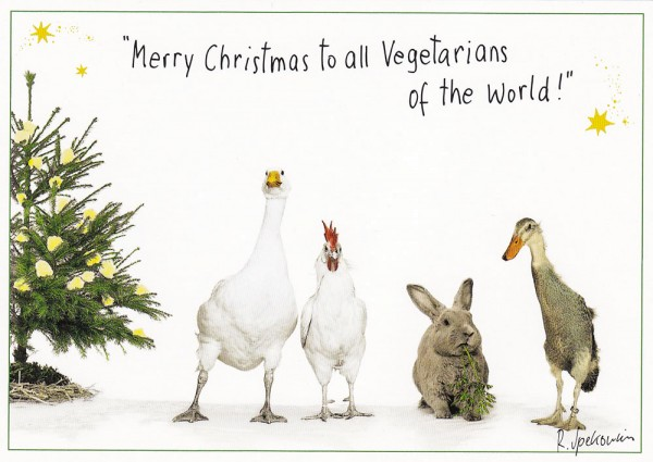 Merry Christmas to all Vegetarians - Postkarte