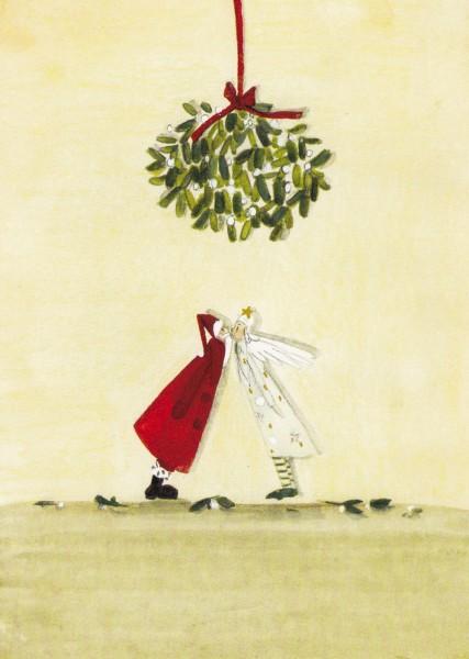 Engelchen und Nikolaus - Silke Leffler Postkarte
