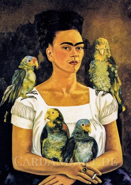 Kahlo, Frida: Ich und meine Papageien - Postkarte