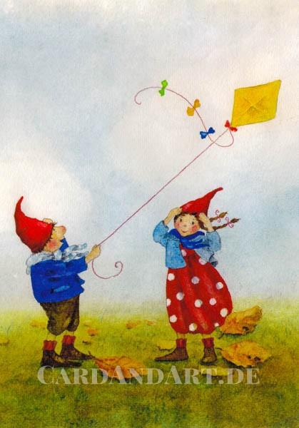 Pippa und Pelle beim Drachensteigen - Postkarte